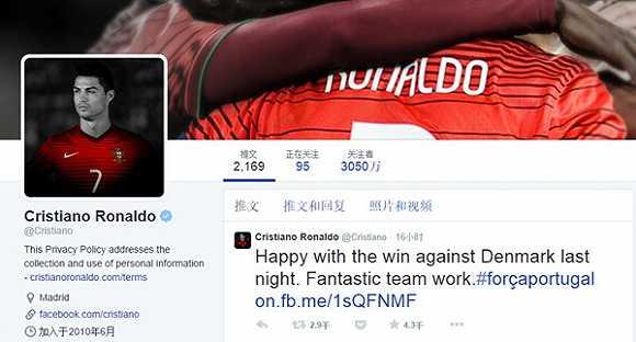 体育界头号大v是c罗,facebook粉丝数量超1亿
