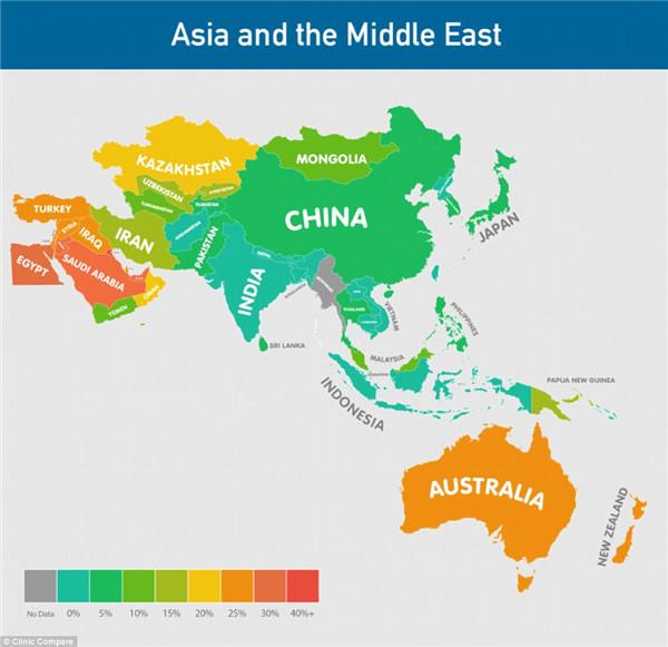 亚洲和中东的肥胖地图.其中