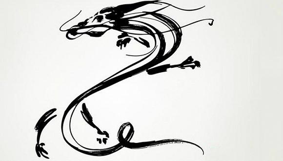 古代神兽手绘黑白矢量图