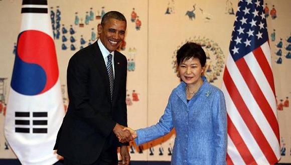 美国总统奥巴马与韩国总统朴槿惠.图片来源:网络