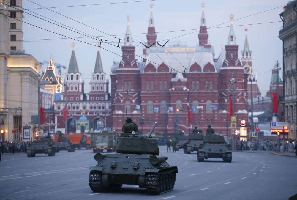 莫斯科红场进行阅兵式彩排