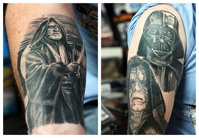 "Dave Oldbury收集《星际穿越》的玩具,海报,人形公仔。还收集了9000多张演员和工作人员的亲笔签名。他还特别喜欢他身上刻画的欧比王·肯诺比(Obi-Wan Kenobi)和 黑武士(Darth Vader)的纹身。想寄宿的粉丝只能在户外玩""光剑对决""。 《星际大战》的超级粉丝将他的家装扮成了电影场景,还邀请人们来做客体验。46岁的Dave Oldbury耗资15万英镑收集《星际穿越》衍生的纪念品,如公仔,海报,电影里的明星,剧本,甚至还有与真人大小一般的&l"